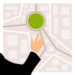 Map of City with a Green Dot